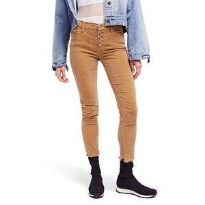 Free People Reagan Crop Skinny Jeans Mustard 26